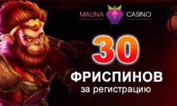 Бездеп 30 фриспинов в Малина казино
